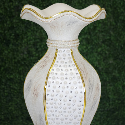 "47.5"" Shimmering Gold Glittered Marble Design Floor Flower Pot Vase With Pearls and Mirror Mosaic Embellishment"