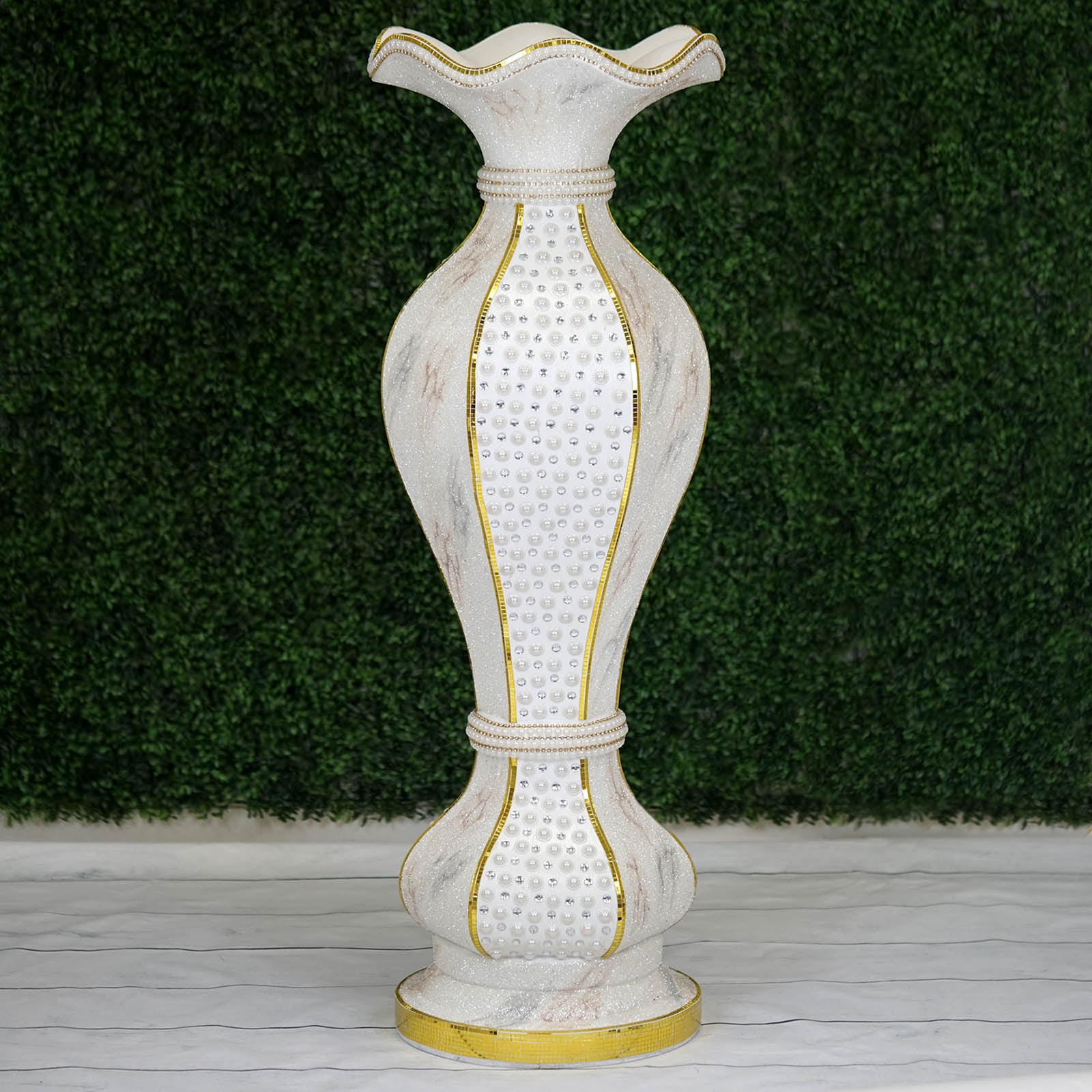 475 Shimmering Gold Glittered Marble Design Floor Flower Pot Vase