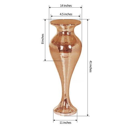 3.5 Ft Rose Gold Polystone Mirror Mosaic Pedestal Floor Vase