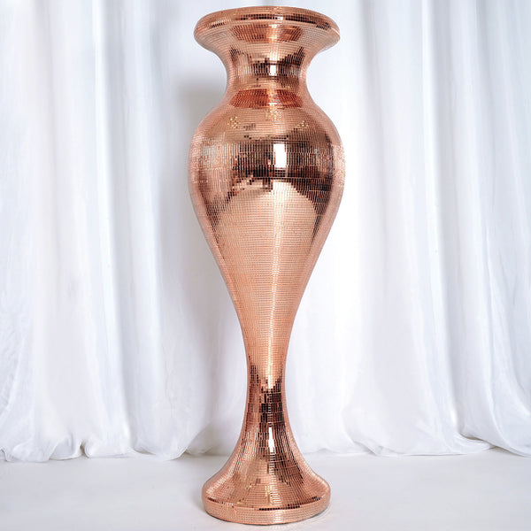 3.5FT Rose Gold Polystone Mirror Mosaic Pedestal Floor Vase