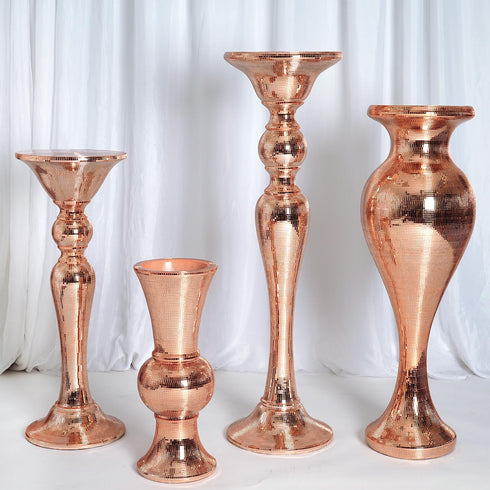 "24"" Rose Gold Mirror Mosaic Polystone Flower Floor Vase Wedding Aisle Prop Party Column - Set of 4"
