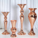 4 Pack | 2 Ft Rose Gold Polystone Mirror Mosaic Pedestal Floor Vase