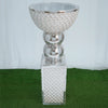 "38.5"" Sparkling Silver Mosaic Mirror and Pearl Centerpiece Flower Ball Holder Floor Decor"