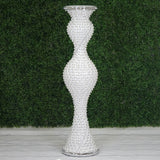 "48"" Magical Mermaid Style Mirror Mosaic and Pearl Studded Floor Vase Wedding Centerpiece"