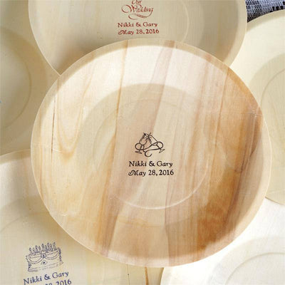 "Personalized Birchwood 8.5"" Round Plates (large emblem) - 100 Count"