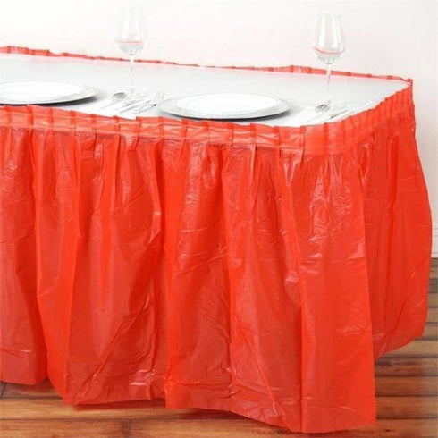 14FT Red Pleated Rectangular Disposable Waterproof Plastic Table Skirt