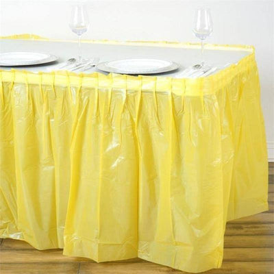 14FT Yellow Pleated Rectangular Disposable Waterproof Plastic Table Skirt