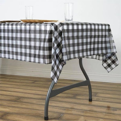 "54""x72"" Disposable Checkered Plastic Vinyl Tablecloth - White / Black"