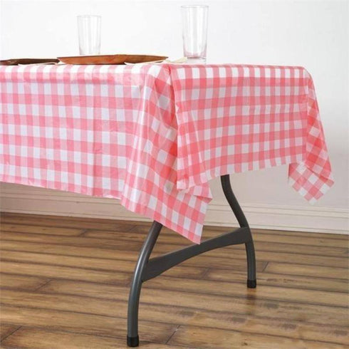 "54""x72"" Disposable Checkered Plastic Vinyl Tablecloth - White/Pink"