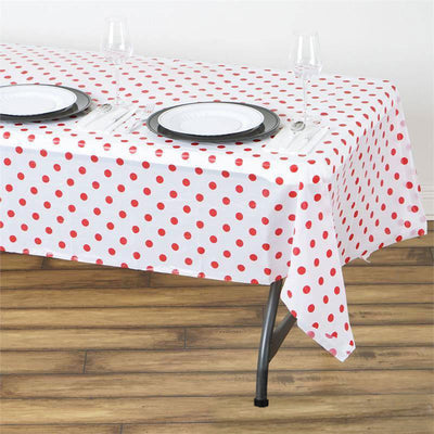"Perky Polka Dots 54x108"" Disposable Plastic Table Cover - White / Red"