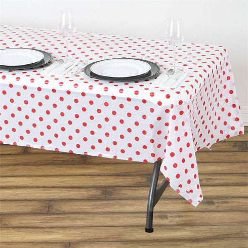 "54"" x 108"" 10 Mil Thick Perky Polka Dots Waterproof Tablecloth PVC Rectangle Disposable Tablecloth - White/Red"