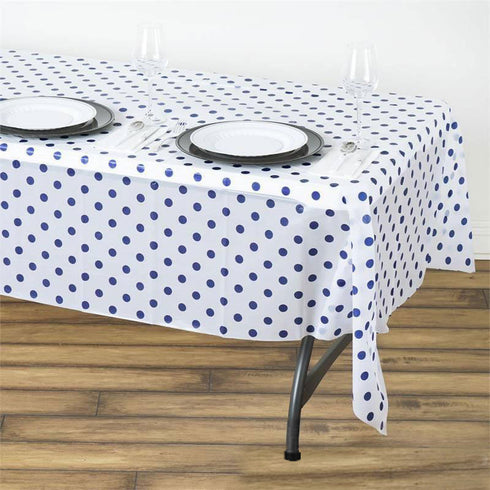 "Perky Polka Dots 54x108"" Disposable Plastic Table Cover - White / Royal Blue"