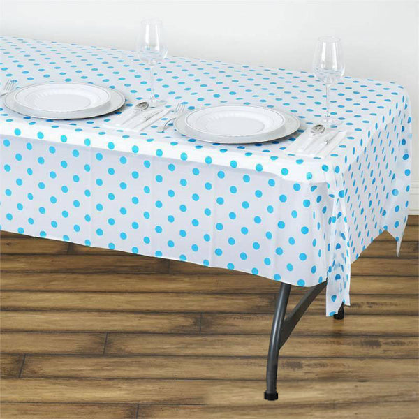 "54"" x 108"" 10 Mil Thick Perky Polka Dots Waterproof Tablecloth PVC Rectangle Disposable Tablecloth - White/Serenity Blue"