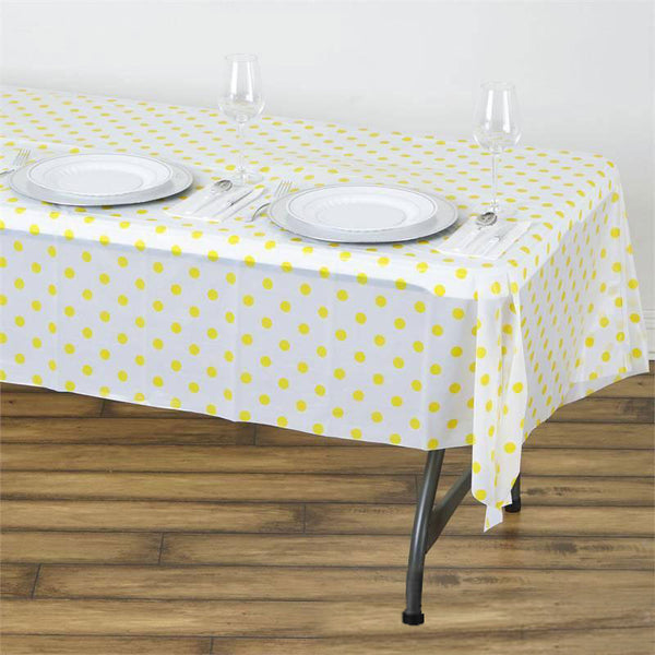 "54"" x 108"" 10 Mil Thick Perky Polka Dots Waterproof Tablecloth PVC Rectangle Disposable Tablecloth - White/Yellow"