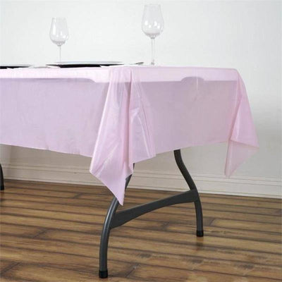 "54""x72"" 10mil Thick Disposable Waterproof Plastic Vinyl Tablecloth - Pink"