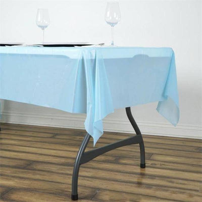 "54""x72"" 10mil Thick Disposable Waterproof Plastic Vinyl Tablecloth - Serenity Blue"