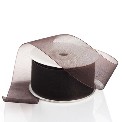 "25 Yards 1.5"" Chocolate Organza Ribbon With Mono Satin Edge"