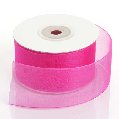 "25 Yards 1.5"" Fuchsia Organza Ribbon With Mono Satin Edge"