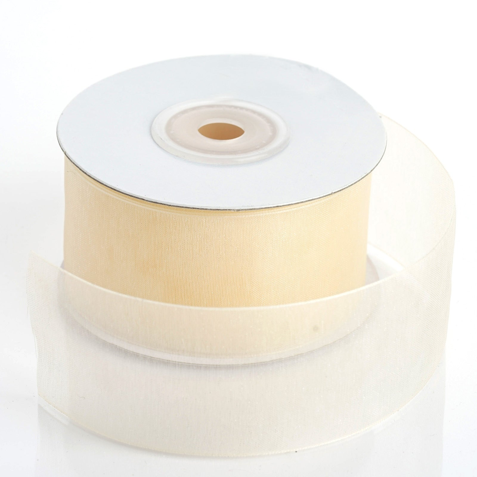 "10 Yards Ivory Cream Center Satin Gold Striped Sheer Wired Ribbon 2 1//2/""W"