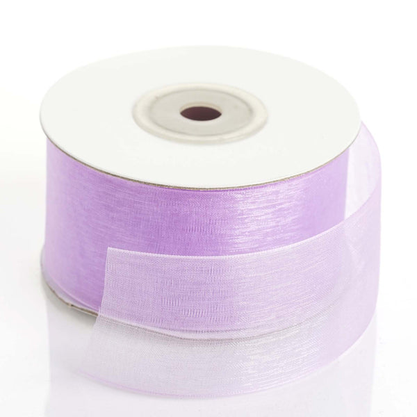 "1.5"" x 25Yards Lavender Organza Ribbon With Mono Satin Edge"
