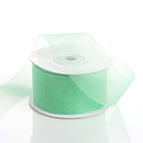 "25 Yards 1.5"" Mint Organza Ribbon With Mono Satin Edge"