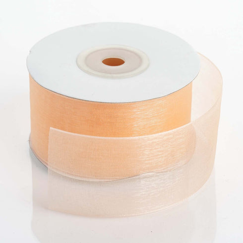 "25 Yards 1.5"" Peach Organza Ribbon With Mono Satin Edge For Wedding Decoration"