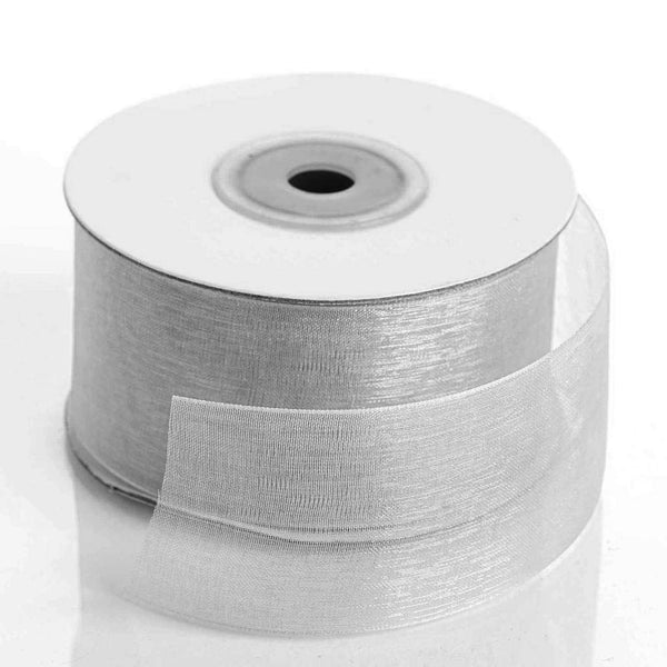 "25 Yards 1.5"" Silver Organza Ribbon With Mono Satin Edge"