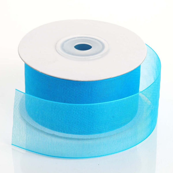"25 Yards 1.5"" Turquoise Organza Ribbon With Mono Satin Edge"