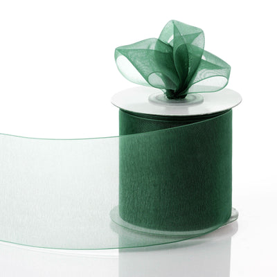 "25 Yards 3"" Hunter Green Organza Ribbon With Satin Edges For Wedding Decoration"