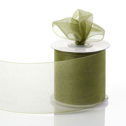 "25 Yards 3"" Moss Green Organza Ribbon With Satin Edges For Wedding Decoration"