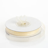 "25 Yard 3/8"" Ivory Organza Ribbon With Satin Edges"