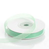"25 Yard 3/8"" Mint Organza Ribbon With Satin Edges"