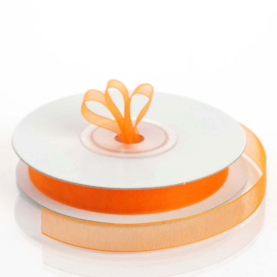 "25 Yard 3/8"" Coral Orange Organza Ribbon With Satin Edges"