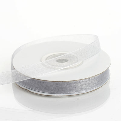"25 Yard 3/8"" Silver Organza Ribbon With Satin Edges"