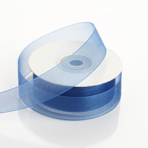 "25 Yard 7/8"" Navy Blue Organza Ribbon With Mono Edge"
