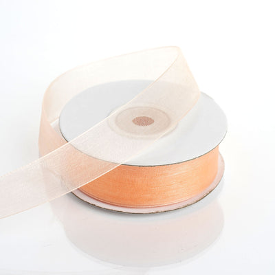 "25 Yard 7/8"" Peach Organza Ribbon With Mono Edge"