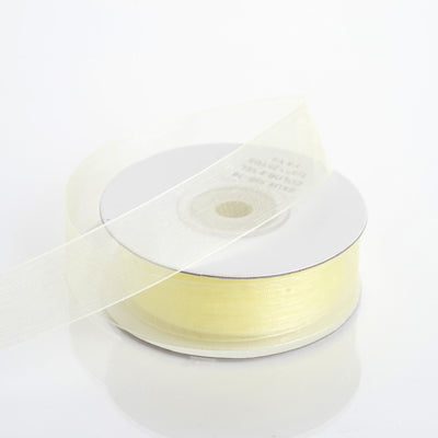 "25 Yard 7/8"" Yellow Organza Ribbon With Mono Edge"