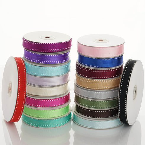 "25 Yards 5/8"" Ivory Stitched Grosgrain Ribbon Decoration"