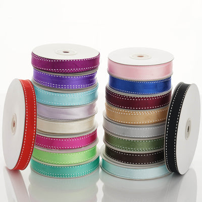 "25 Yards 5/8"" Pink Stitched Grosgrain Ribbon Wholesale"