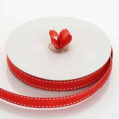 "25 Yards 5/8"" Red Stitched Grosgrain Ribbon Wholesale"