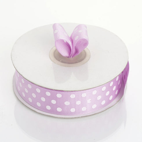 "25 Yard 7/8"" Purple Grosgrain White Polka Dot Ribbon"