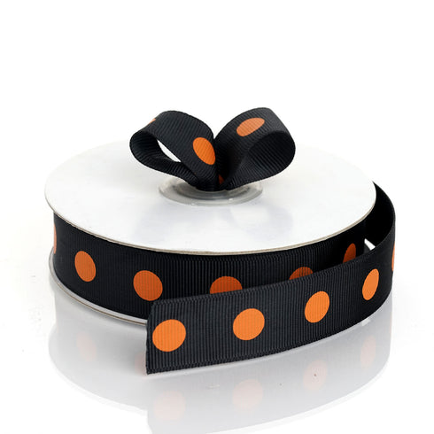 "25 Yard 7/8"" Black/Orange Grosgrain Polka Dot Ribbon"