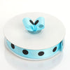 "25 Yard 7/8"" Turquoise Grosgrain Black Polka Dot Ribbon"