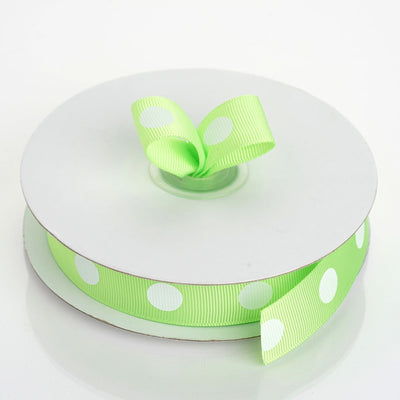 "25 Yard 7/8"" Apple Green Grosgrain Polka Dot Ribbon"