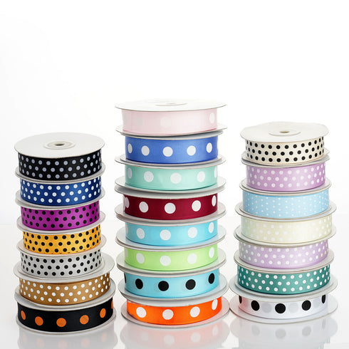 "25 Yard | 7/8"" Sage Green Polka Dot Grosgrain Ribbon 