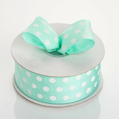 "25 Yard 1.5"" Sage Green Grosgrain White Polka Dot Ribbon"