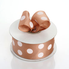 "25 Yard 1.5"" Tan Grosgrain White Polka Dot Ribbon"