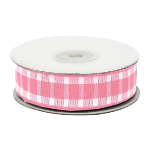 "Divergent Gingham Ribbon 5/8"" x 25yrds per roll-Pink"