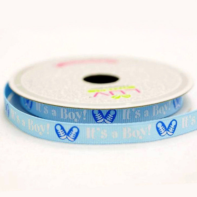"3/8""x10 Yards IT'S A BOY Blue Grosgrain Ribbon Baby Shower Party Favor Gift Craft Decoration"