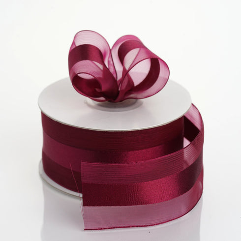"25 yards 1.5"" Burgundy Satin Center Ribbon"